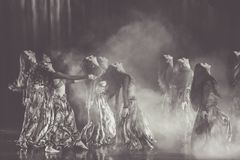 Monochrome Photography of Women Performing On Stage stock photo