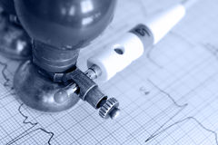 Monochrome photos of electrocardiogram Stock Photo