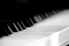 Monochrome piano keyboard. Monochrome closeup of piano keyboard with shallow depth of field Royalty Free Stock Photography