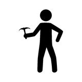 Monochrome pictogram with climbing man with ice axe Stock Images