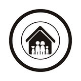 Monochrome pictogram with family in house inside the circle Stock Images