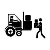 Monochrome pictogram with forklift truck with forks and workers Royalty Free Stock Photos