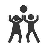 Monochrome pictogram with kids play with a ball Royalty Free Stock Photography