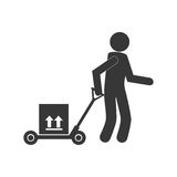 Monochrome pictogram of man and hand truck and packages Stock Image