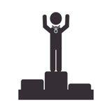 Monochrome pictogram with man in podium Stock Image