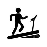 Monochrome pictogram with man in treadmill Royalty Free Stock Images