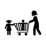 Monochrome pictogram with mom and kids and shopping cart Royalty Free Stock Images