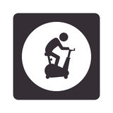 Monochrome pictogram with square with circle inside with man in spinning bike Stock Photos