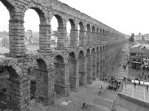 Monochrome Picture of The Aqueduct of Segovia, Spain Stock Images