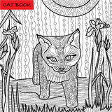 Monochrome picture, coloring book for adults - cat book,  doodle patterns, kitten among irises Royalty Free Stock Photo