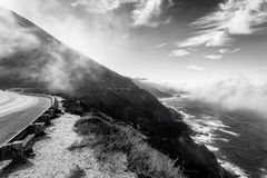 Monochrome picture of Scenic drive along coastal California Stock Photography
