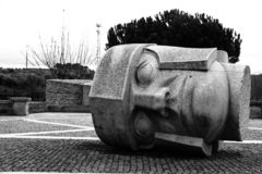 Monochrome Statue Head stock photos