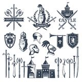 Monochrome pictures and badges of medieval knight theme. Illustrations of helmets, swords stock illustration