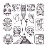 Monochrome pictures set of mayan culture symbols. Tribal masks and totems vector illustration