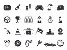 Monochrome pictures set of sport symbols for formula 1 and racing cars. Speed sport car, speedometer and flag. Vector illustration vector illustration