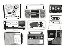 Monochrome pictures set of various vintage audio recorders. Vector retro recorder stereo, electronic portable obsolete, play tape audio illustration Stock Images