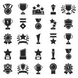 Monochrome pictures set of winner cups and sport trophies. Win and trophy award, sport prize, vector illustration Stock Images