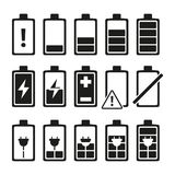 Monochrome pictures of smartphone battery in different levels of charging royalty free illustration