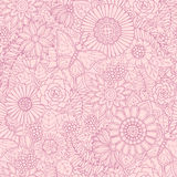 Monochrome pink seamless hand drawn pattern with abstract flowers and leaves. Doodle floral background with butterfly. Royalty Free Stock Photo