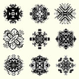 Monochrome pixel mandala collection of vintage objects Stock Image
