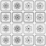 Monochrome planetary atom model science icon set. Black atom models in frames on light gray backdrops Stock Photography