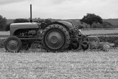 Monochrome ploughing Stock Image
