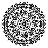 Monochrome Polish folk art pattern in circle with roosters - Wzory Lowickie, Wycinanka Stock Photography
