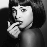 Monochrome portrait of Beautiful Brunette Girl. Healthy Black Hair. bob Haircut. Beauty woman. flirt. black and white art stock photography