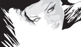 Monochrome portrait of a beautiful girl stock illustration