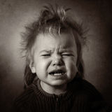 Monochrome portrait of a crying baby Stock Photo