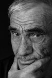 Monochrome portrait of an elderly man Royalty Free Stock Photos