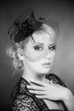 Monochrome portrait of elegant woman Royalty Free Stock Photos