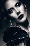 Monochrome portrait of elegant woman royalty free stock images