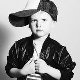 Monochrome portrait of Fashionable Child.stylish little boy.fashion children Stock Images