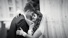 Monochrome portrait of hugging bride and groom looking at eyes Stock Photos