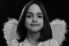 Monochrome portrait of Little Angel Royalty Free Stock Image