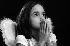 Monochrome portrait of Little Angel Royalty Free Stock Images