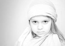 Monochrome portrait of little girl in white Stock Images