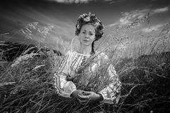 Monochrome portrait of national ukrainian woman in field Stock Photography