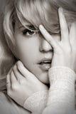 Monochrome portrait of pretty woman Royalty Free Stock Image