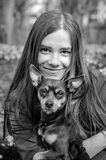 Monochrome portrait with puppy dog Royalty Free Stock Image