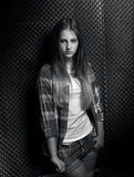 Monochrome portrait of sexy young girl in checkered shirt Stock Images