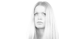 Monochrome portrait of woman Royalty Free Stock Photo