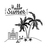 Monochrome poster of hello summer with sandcastle and island with palm trees royalty free illustration