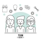 Monochrome poster of team work with half body group of man and two women and icon tools on top royalty free illustration