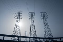 Monochrome Power Transmission Tower  Group Royalty Free Stock Photo