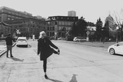 Dancing mood in Quebec city. Monochrome Quebec city. Cold mood stock photo