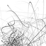 Monochrome random chaotic squiggle lines abstract artistic patte Stock Image