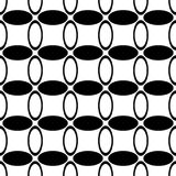 Monochrome repeating abstract geometrical ellipse grid pattern - vector background design from curved oval shapes Stock Images