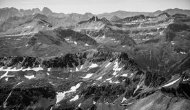 Monochrome Rocky Mountain Rugged Epic Landscape. From 14,000 feet up Royalty Free Stock Image